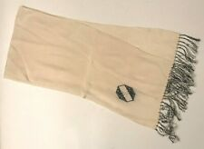 Vintage 1940's opera scarf, white with black and white hand knotted fringe