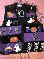 JACK B QUICK ~ Women's Halloween Holiday Sweater Vest Embroidered Patches ~ L