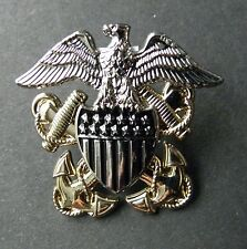 US Navy Officer Solid 3-D Cap Hat Jacket USA Lapel Pin 1.25 inches USN