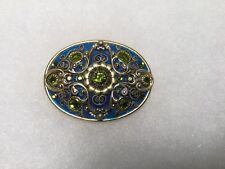 Vintage Michal Golan Blue Enamel Green Crystals Peridot Brooch Pin Pendant