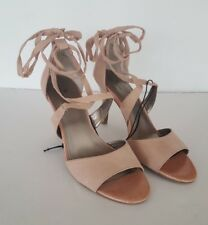Worthington Capri Women's Blush Pink Ankle Ribbon Open Toe High Heels, Size 10 M