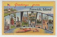 [66351] OLD LARGE LETTER POSTCARD GREETINGS from FENWICK ISLAND, DELAWARE