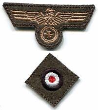 WWII German Heer Cap Set Eagle Iron Cross Tan on Field Grey Wool Repro