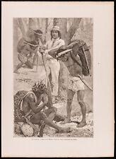 1880 - Gravure : Les Caucheros (Canal du Panama, Darien), par Maillart