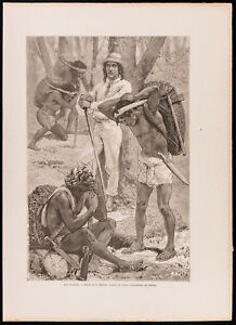 1880 - Gravur: Die Caucheros (Canal Du Panama, Darien), von Maillart