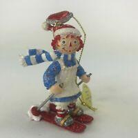 Danbury Mint Raggedy Ann and Andy Glitter Ornament Skiing Ann Christmas Hanging