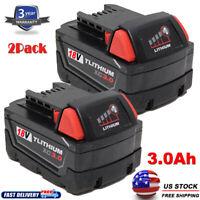 (2) For MILWAUKEE 48-11-1828 18V 18 VOLT M18 LITHIUM XC 4.0 Battery Pack 3.0Ah