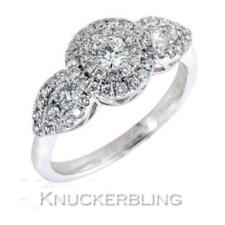 Diamond Trilogy-style Cluster Ring 0.80ct Brilliant Cut F VS in 18ct White Gold