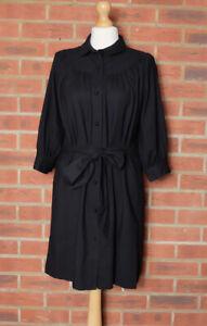 Whistles Black Wool Belted Button Up Shirt Dress UK 10