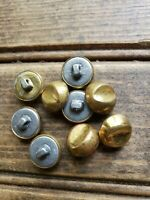 Lot of 9 Vintage Gold tone metal Tin ? buttons