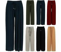 Ladies Culottes Trousers Wide Leg Harem Pleated Crinkle Holiday Summer Beach