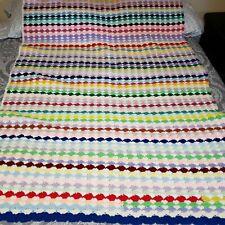 "Afgan lap blanket crochet homemade multi color 66""x51""machine wash separately"