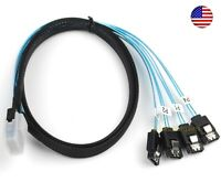 3.3FT Mini SAS 36P SFF-8087 to 4X SATA 7Pin HD Splitter Breakout Blue Cable USA