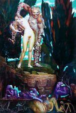 "ERNST FUCHS ""The dance with death"" HAND SIGNED CANVAS 2012 AUSTRIAN ARTIST"