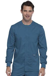 Cherokee Workwear Scrubs Men Snap Front Warm Up Jacket WW380 CAR Caribbean Blue