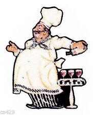 "2.5"" Fat Italian Chef Baker Cook Pasta Wine Glasses Fabric Applique Iron On"