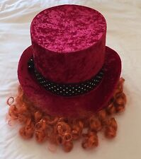 BNWT Disney Mad Hatter Hat with Wig Costume Kids Youth