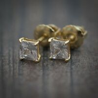 Small Elegant 14k Gold Sterling Silver Solitaire Lab Diamond Stud Earrings