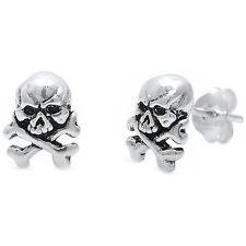 "Solid Cross Bone Skull ""DANGER"" .925 Sterling Silver Earrings"