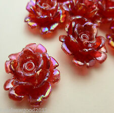 10 Red Iridescent Pearlised Plastic Rose Flower Beads 28mm Jewellery Crafts