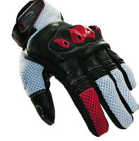 MOTORCYCLE Motorbike GLOVES Sports Short Cuff Protected Knuckle in RED