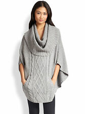 AUTUMN CASHMERE NWT Grey Wool Cashmere Cable Knit Cowlneck Poncho Sweater O/S