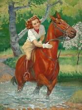 Lady Horse Stream Spring Scene vintage art