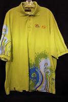 """COOGI Key lime Cotton Blend """"Swirls"""" Polo Shirt Mens Size 3XL-B123"""
