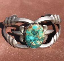 Navajo Sand Cast Sterling Silver Turquoise Cuff Bracelet Signed P Yellowhorse