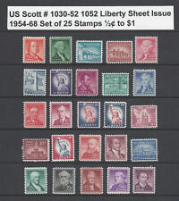 US Scott # 1030 -1052 Liberty Sheet Issues of 1954-68 Set of 25 / ½¢ to $1 MNH