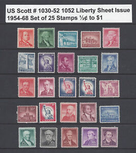US Scott # 1030 -1052 Liberty Sheet Issues of 1954-68 Set of 25 / ½¢ to $1 MNH