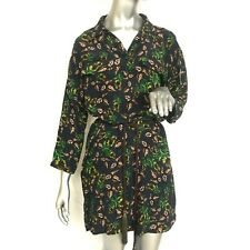Topshop size 8 BOUTIQUE 100% Silk Falling Leaf Floral Shirt Dress Dandelion UK12