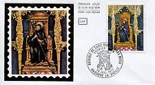 FDC PREMIER JOUR ANDORRE 1977 TIMBRE N° 264 RETABLE DE SANT ROMA  DE LES BONS