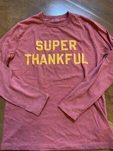 "J Crew Crewcuts Boys ""Super Thankful"" Long Sleeve Shirt 12 EXCELLENT"