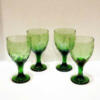 Libbey Garden Vine Set Of 4 Green Goblets