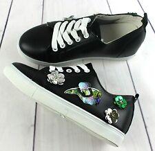 Womens Black Flower Hidden Low Wedge Heel Sneakers Trainers Shoes UK 4 / EUR 37