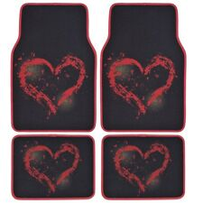 4 PC Red Heart Love Auto Carpet Floor Mats For Car Truck, Auto Accessories