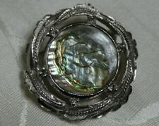 EXQUISITE brand Abalone Paua Shell Silver Tone Brooch/ Pin