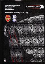 Arsenal Vs. Birmingham City Football Programme Carling Cup Final 2011 Wembley