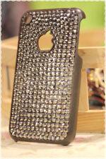 Cover rigida iphone 3-3gs strass antracite applicati a mano colore base marrone