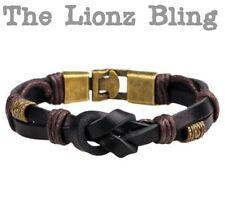 Urban Vintage style Genuine Black Knotted Leather Bracelet