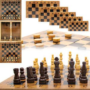 Schach Brett Dame Backgammon 65 t Set Brettspiel spielesammlung Holz schachspiel