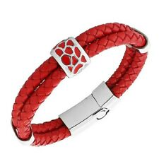 Red Genuine Leather Braided Silver-Tone Wristband Womens Bracelet with Clasp