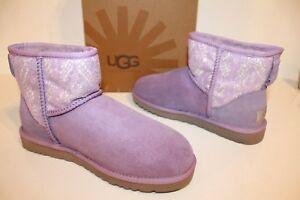 UGG 1005696 LMST 7 Women Classic Mini Lace Suede Sheepskin Boots Purple 7