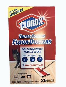 """Clorox Triple Action Floor Dusters 26 Count Box Large Cloths 8.5"""" x 10"""""""
