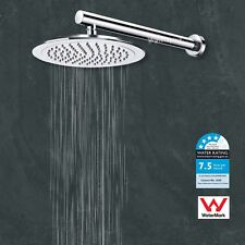 "Round 9"" Rainfall Shower Head Wall Arm Extension 40cm Straight Mixer Twin Taps"