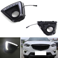 For Mazda CX-5 2012-2016 Auto Front DRL Black Cover White Daytime Running Lights