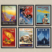 A4 Vintage Travel Orient Hong Kong Siam Java Singapore Oriental Posters