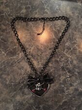 Women's Pirate Halloween Costume Skull & Crossbones Heart Necklace