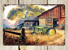 bathroom wall decor John Deree tractor barn country farm metal tin sign